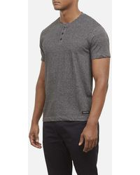 Kenneth Cole Reaction - Short Sleeve Henley Tee In Marled Cotton - Lyst