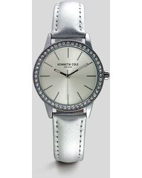 Kenneth Cole - Crystal Detail Minimal Watch With Silver Leather - Lyst
