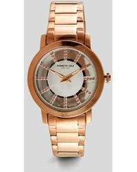 Kenneth Cole - Rose Gold-tone Transparent Round Stone Watch - Lyst