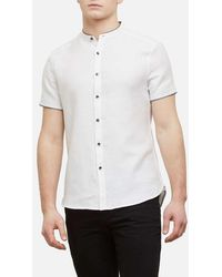 Kenneth Cole - Short-sleeve Collarband Spillout Shirt - Lyst