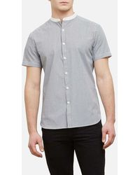Kenneth Cole - Short-sleeve Stripe Collarband Shirt - Lyst