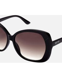 85a2bfbde8 Lyst - Kenneth Cole Women s Round Black Double Bar Sunglasses in Black