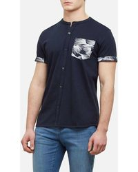 Kenneth Cole Reaction - Short-sleeve Printed Pocket Collarband Shirt - Lyst