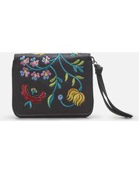 Kenneth Cole - Floral Embroidered Leather Zip Wallet - Lyst