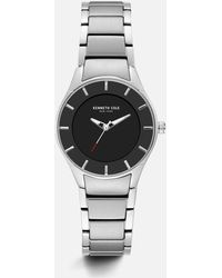 Kenneth Cole - Silver-tone Stainless Steel Black Watch - Lyst