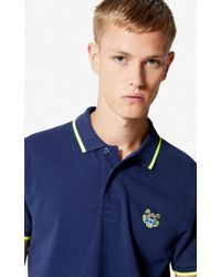 b8deeec6a1 KENZO Long Sleeve Tiger Polo Shirt in Blue for Men - Lyst