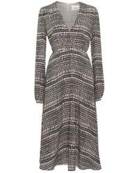 Valentino | Long Sleeve Square Print Silk Midi Dress | Lyst