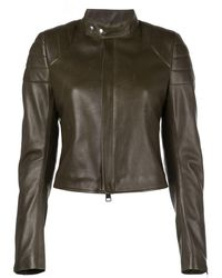 Bottega Veneta Leather Biker Jacket With Mandarin Collar - Green