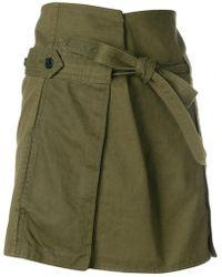 Saint Laurent - Tie Waist Cargo Mini Skirt - Lyst