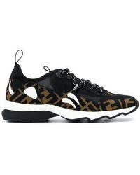 Fendi - Brown, Black And White Ff Logo Technical Mesh Sneakers - Lyst