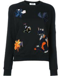 MSGM - Cat Patch Sweatshirt - Lyst