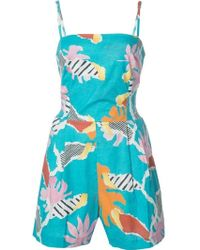 Isolda   Blue Tropical Jumpsuit   Lyst