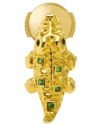 Yvonne Léon - Mini Crocodile 18k Gold, Tsavorites And Black Diamond Single Earring - Lyst