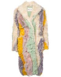 Sandy Liang - Rainbow Striped Shearling Coat - Lyst