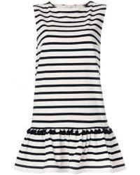 Marc Jacobs | Pompom-embellished Striped Cotton-jersey Mini Dress | Lyst