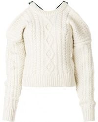 CALVIN KLEIN 205W39NYC - Cold Shoulder Cable Knit Sweater - Lyst