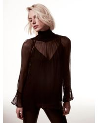 Krisa - Silk Turtleneck Long Sleeve - Lyst