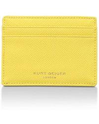 Kurt Geiger | New Saffiano Card Holder In Yellow | Lyst