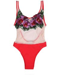 Kurt Geiger - Flower Patches Swimsuit In Red - Lyst