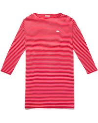 Lacoste - Boat Neck Striped Interlock Nautical Dress - Lyst
