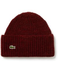 Lyst - Lacoste Classic Wool Ribbed Knit Beanie in Red for Men bb9d96a3defb