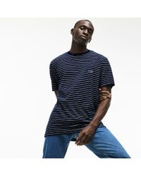 Lacoste - Contrasting Crew Neck Striped Cotton Terrycloth T-shirt - Lyst