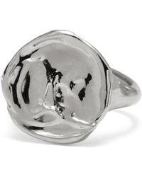 Lady Grey - Palette Signet Ring In Rhodium - Lyst