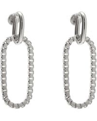Lady Grey - Box Link Earring In Rhodium - Lyst