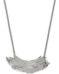 Lady Grey - Brushstroke Necklace In Rhodium - Lyst