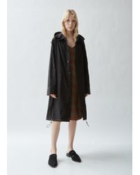 Wales Bonner Drawstring Hooded Trench Coat - Black