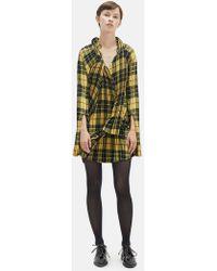 Junya Watanabe - Asymmetric Pleated Tartan Twill Mini Dress - Lyst