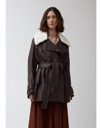 Wales Bonner Leather Belted Peacoat With Shearling Collar - Brown