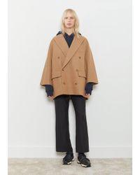 Y's Yohji Yamamoto - Knit Melton Double Breasted Coat - Lyst