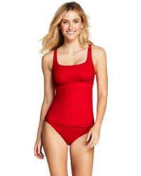 6d1301c49d2cf Lands' End Blue Mastectomy Beach Living Square Neck Tankini Top in ...