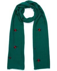 Janavi - 'ladybug' Embroidered Merino Wool Scarf - Lyst