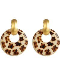 Kenneth Jay Lane - Detachable Burnt Effect Wood Hoop Clip Earrings - Lyst