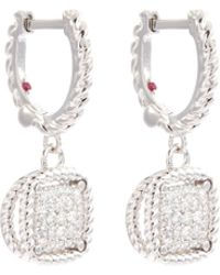 Roberto Coin - New Barocco' Diamond 18k Rose Gold Square Drop Earrings - Lyst