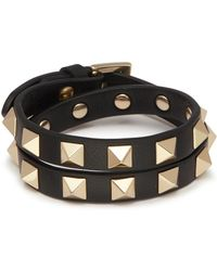 Valentino - 'rockstud' Double Wrap Leather Bracelet - Lyst