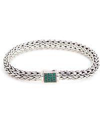 John Hardy - 'classic Chain' Sapphire Emerald Silver Reversible Bracelet - Lyst