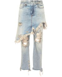 R13 - 'double Classic' Skirt Overlay Jeans - Lyst