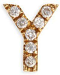 Loquet London - Diamond 18k Yellow Gold Letter Charm – Y - Lyst