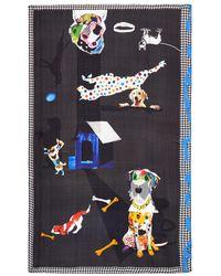Pashma | Houndstooth Border Dog Collage Print Silk Scarf | Lyst