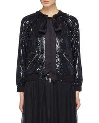 Needle & Thread - 'gloss Sequin' Stripe Sash Tie Neck Jacket - Lyst