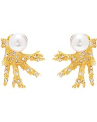 Kenneth Jay Lane - Glass Crystal Pearl Branch Clip Earrings - Lyst