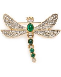 Kenneth Jay Lane - Cabochon Glass Crystal Dragonfly Brooch - Lyst