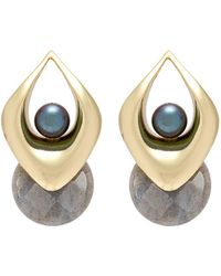 OLIVIA YAO - 'vayu Labra' Cultured Pearl Labrodorite Marquise Hoop Earrings - Lyst