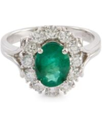 LC COLLECTION - Diamond Emerald 18k White Gold Scalloped Ring - Lyst