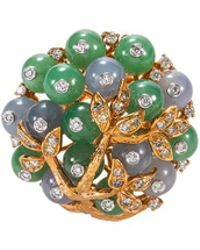 LC COLLECTION - Diamond Jade 18k Rose Gold Ring - Lyst