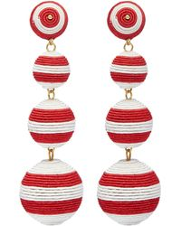 Kenneth Jay Lane - Stripe Threaded Sphere Clip Drop Earrings - Lyst