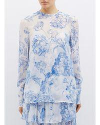 0441aa5de7fe Oscar de la Renta - Floral Toile Print Silk Chiffon Shirt - Lyst